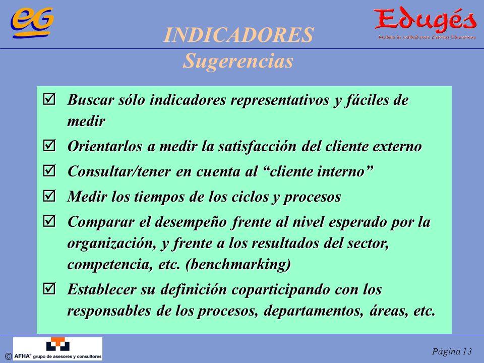 © Página 13 Buscar sólo indicadores representativos y fáciles de medir Buscar sólo indicadores representativos y fáciles de medir Orientarlos a medir