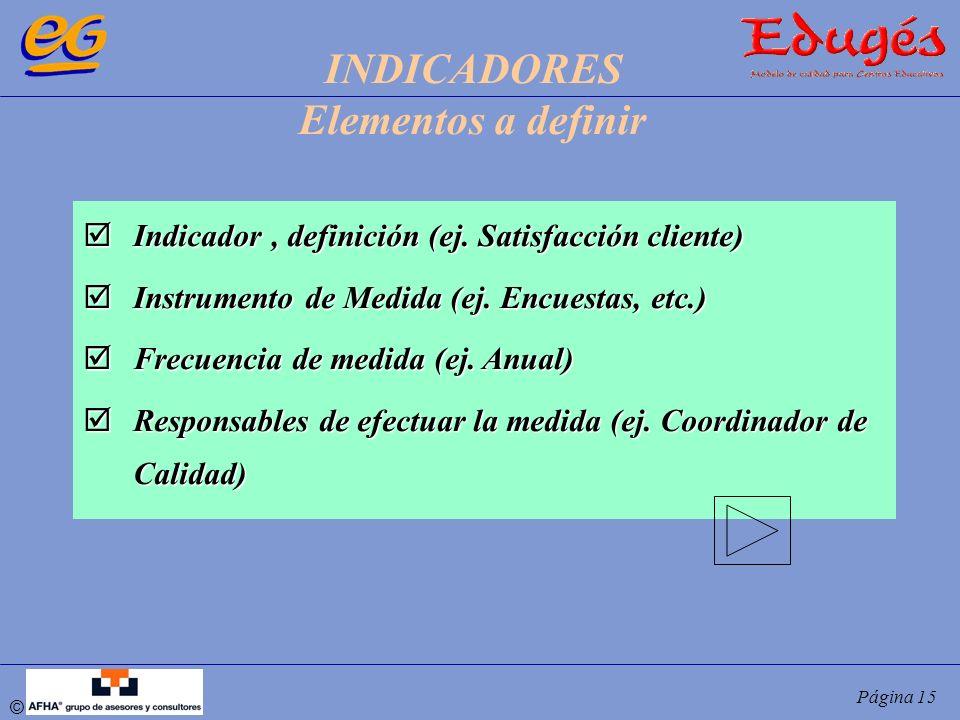 © Página 15 Indicador, definición (ej. Satisfacción cliente) Indicador, definición (ej. Satisfacción cliente) Instrumento de Medida (ej. Encuestas, et