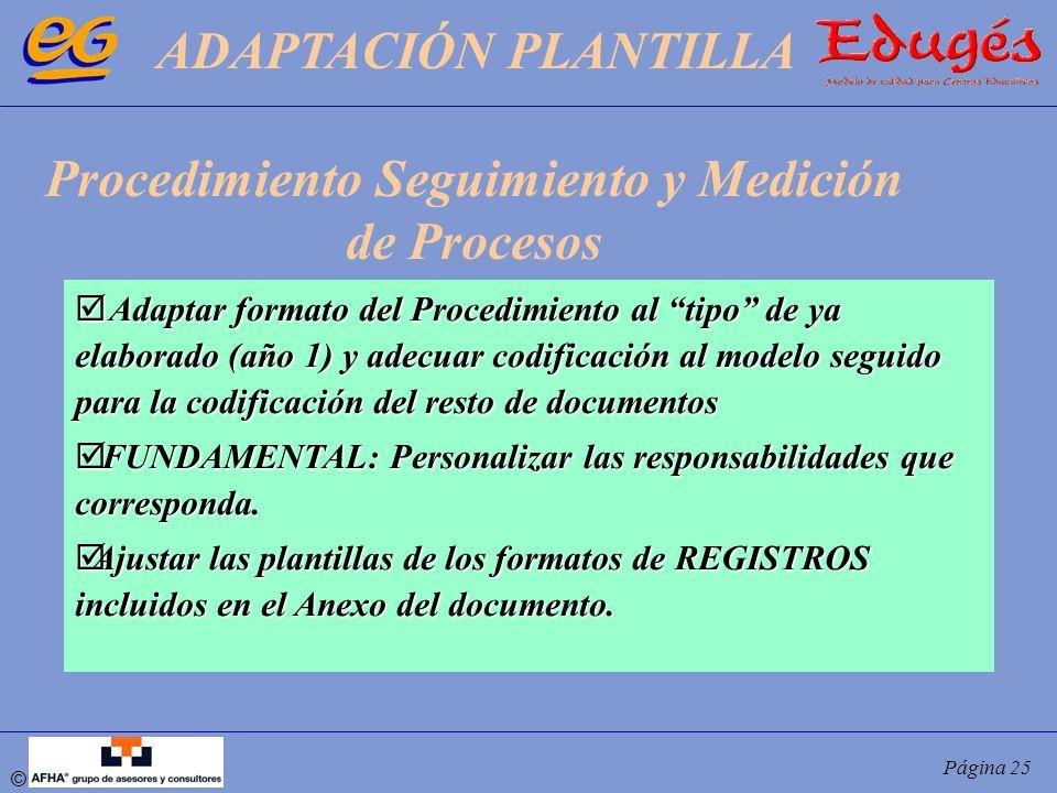 © Página 25 Adaptar formato del Procedimiento al tipo de ya elaborado (año 1) y adecuar codificación al modelo seguido para la codificación del resto