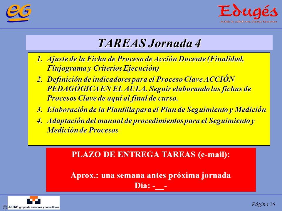 © Página 26 TAREAS Jornada 4 1.Ajuste de la Ficha de Proceso de Acción Docente (Finalidad, Flujograma y Criterios Ejecución) 2.Definición de indicador
