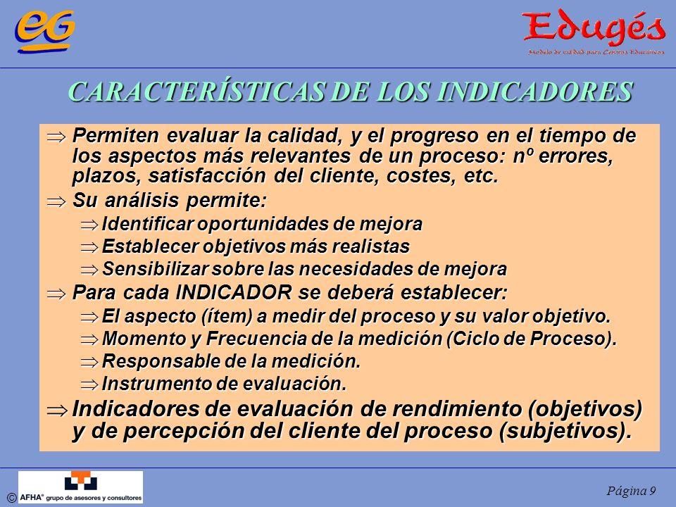 © Página 9 CARACTERÍSTICAS DE LOS INDICADORES Permiten evaluar la calidad, y el progreso en el tiempo de los aspectos más relevantes de un proceso: nº