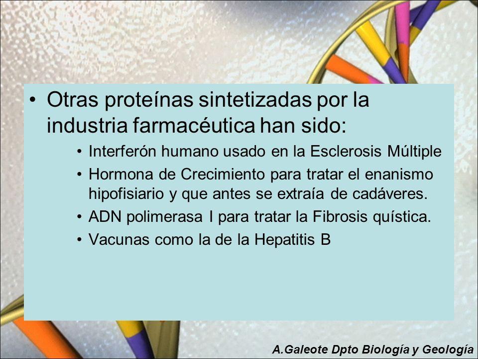Otras proteínas sintetizadas por la industria farmacéutica han sido: Interferón humano usado en la Esclerosis Múltiple Hormona de Crecimiento para tra