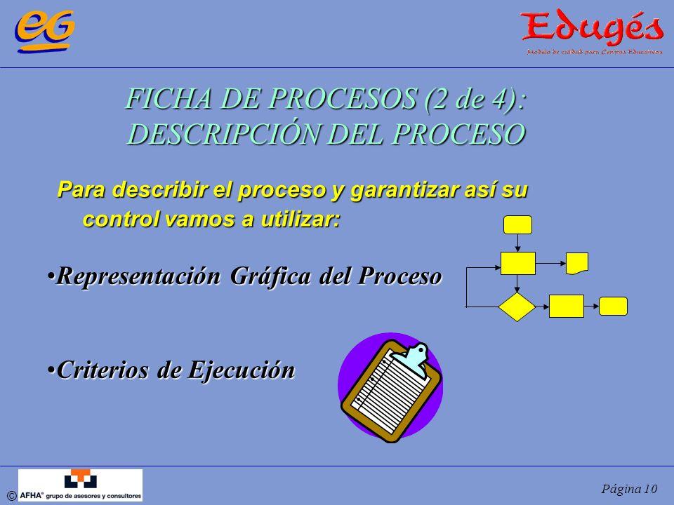 © Página 10 FICHA DE PROCESOS (2 de 4): DESCRIPCIÓN DEL PROCESO Para describir el proceso y garantizar así su control vamos a utilizar: Representación
