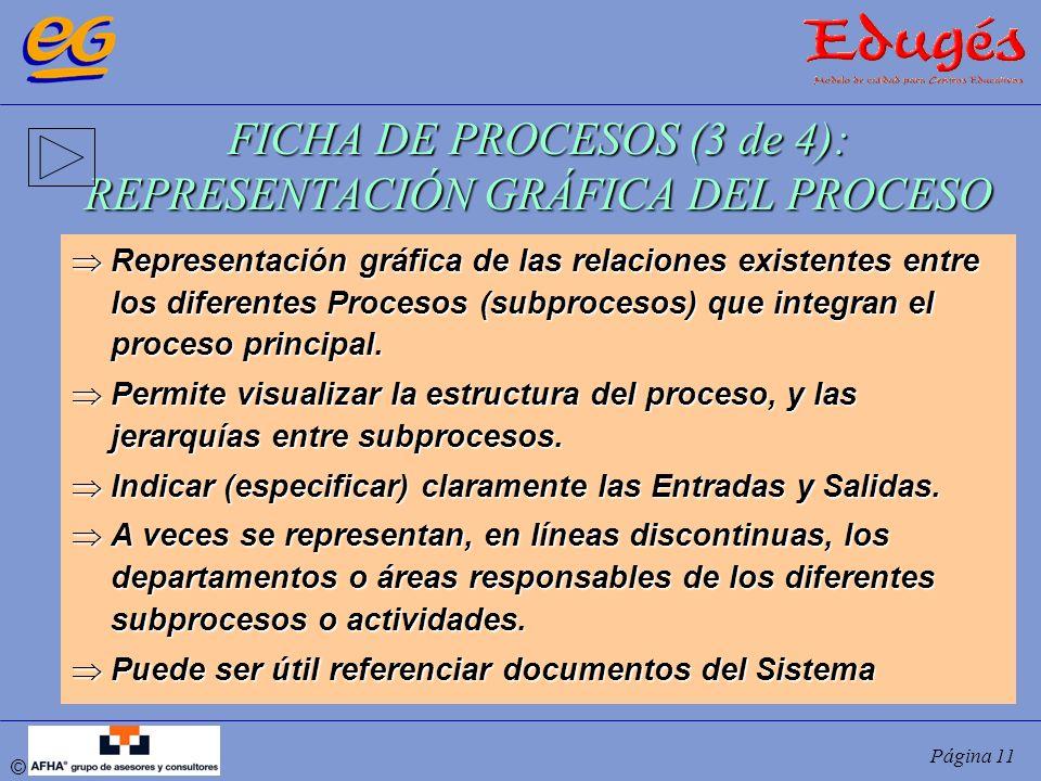 © Página 11 FICHA DE PROCESOS (3 de 4): REPRESENTACIÓN GRÁFICA DEL PROCESO Representación gráfica de las relaciones existentes entre los diferentes Pr