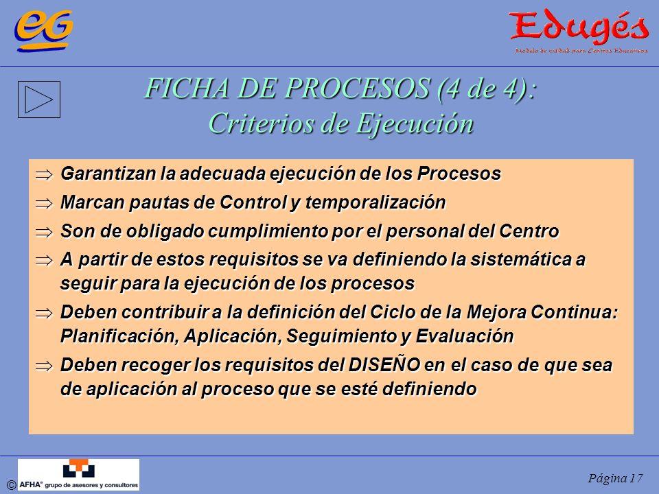 © Página 17 FICHA DE PROCESOS (4 de 4): Criterios de Ejecución Garantizan la adecuada ejecución de los Procesos Garantizan la adecuada ejecución de lo