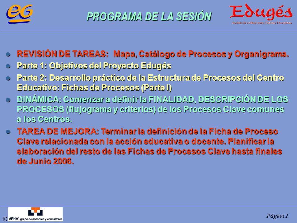 © Página 2 PROGRAMA DE LA SESIÓN REVISIÓN DE TAREAS: Mapa, Catálogo de Procesos y Organigrama. REVISIÓN DE TAREAS: Mapa, Catálogo de Procesos y Organi