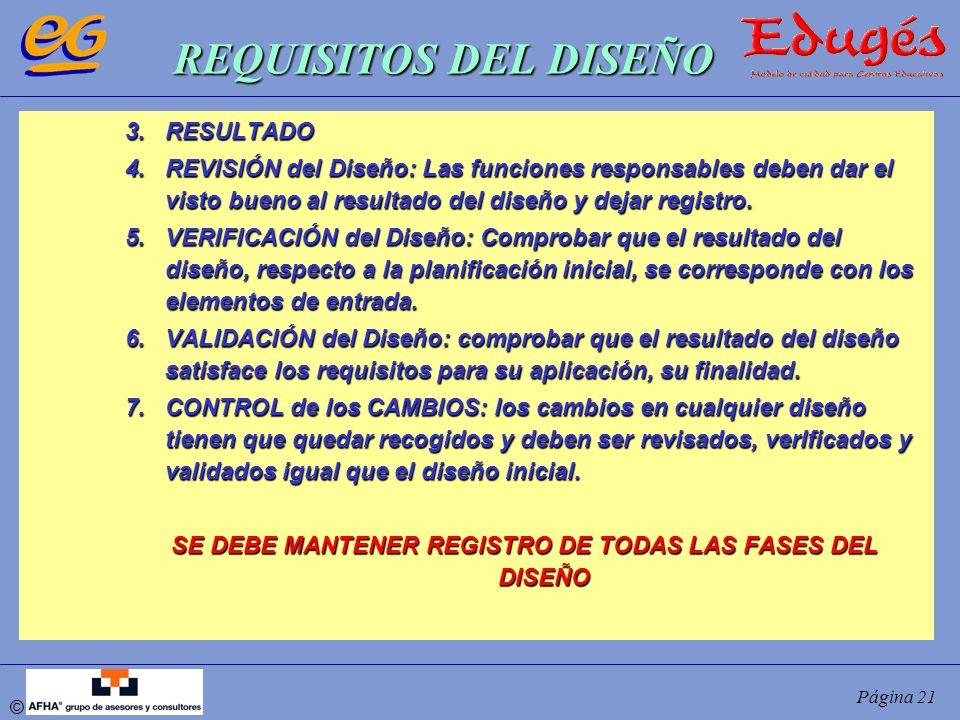 © Página 21 REQUISITOS DEL DISEÑO 3.RESULTADO 4.REVISIÓN del Diseño: Las funciones responsables deben dar el visto bueno al resultado del diseño y dej