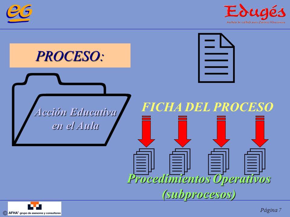 © Página 8 Para todos los PROCESOS, deberemos documentar: FICHA DEL PROCESO: documento base para la gestión y mejora de los grandes procesos reflejados en el MAPA.