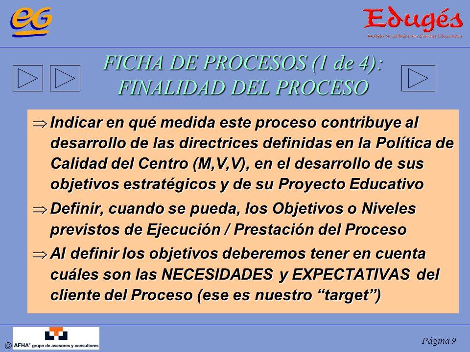 © Página 9 FICHA DE PROCESOS (1 de 4): FINALIDAD DEL PROCESO Indicar en qué medida este proceso contribuye al desarrollo de las directrices definidas