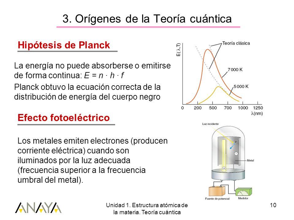 Unidad 1. Estructura atómica de la materia. Teoría cuántica 10 La energía no puede absorberse o emitirse de forma continua: E = n · h · f Planck obtuv