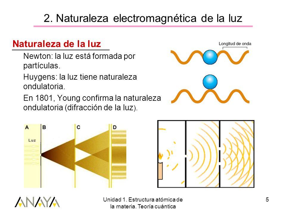 Unidad 1. Estructura atómica de la materia. Teoría cuántica 5 2. Naturaleza electromagnética de la luz Naturaleza de la luz Newton: la luz está formad