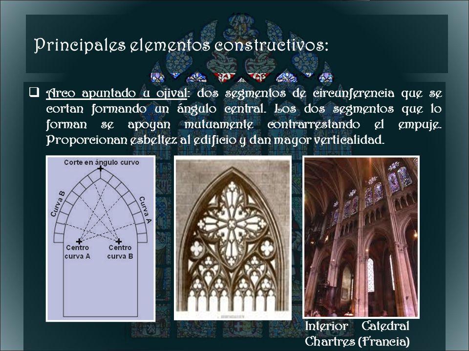 Principales elementos constructivos: Arco apuntado u ojival: dos segmentos de circunferencia que se cortan formando un ángulo central. Los dos segment