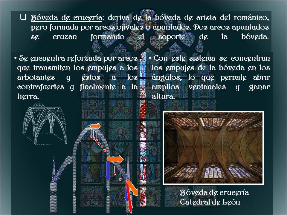 Bóveda de crucería: deriva de la bóveda de arista del románico, pero formada por arcos ojivales o apuntados. Dos arcos apuntados se cruzan formando el