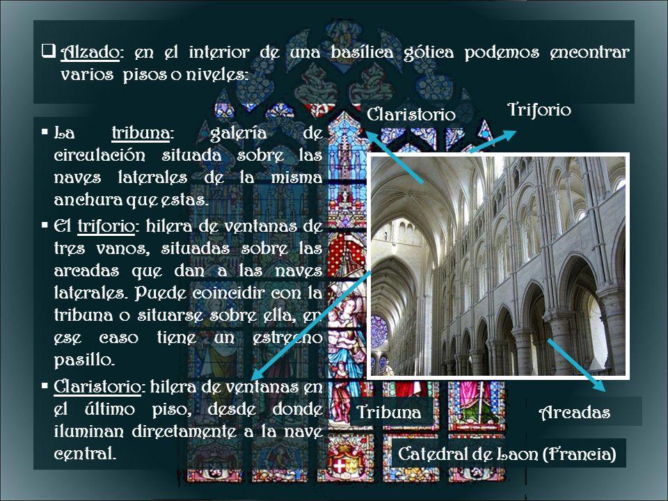 Alzado: en el interior de una basílica gótica podemos encontrar varios pisos o niveles: La tribuna: galería de circulación situada sobre las naves lat