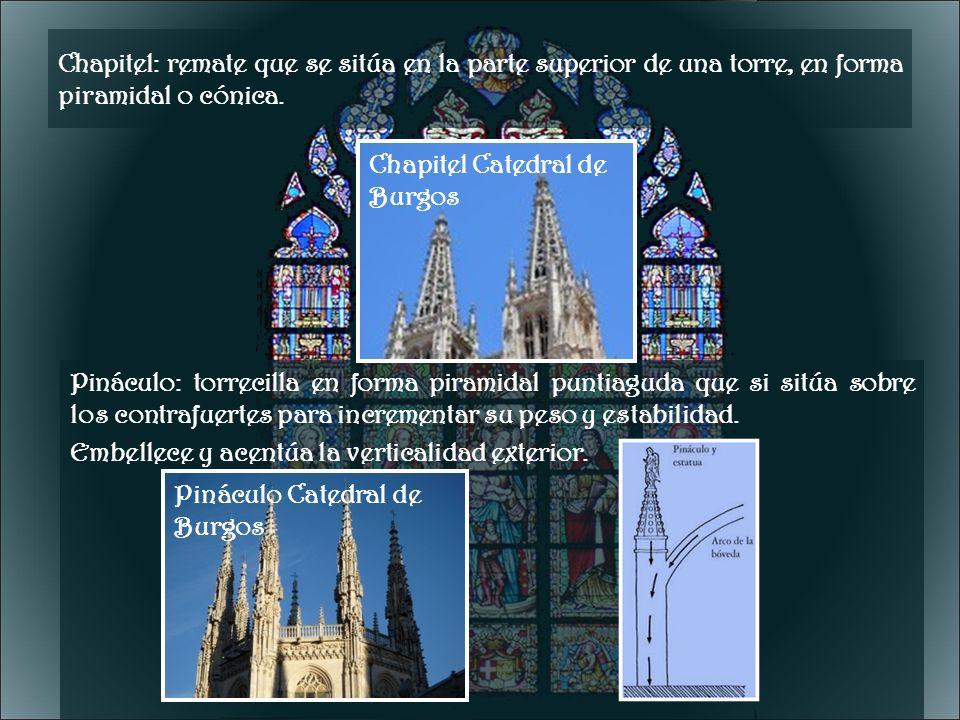 Chapitel: remate que se sitúa en la parte superior de una torre, en forma piramidal o cónica. Pináculo: torrecilla en forma piramidal puntiaguda que s