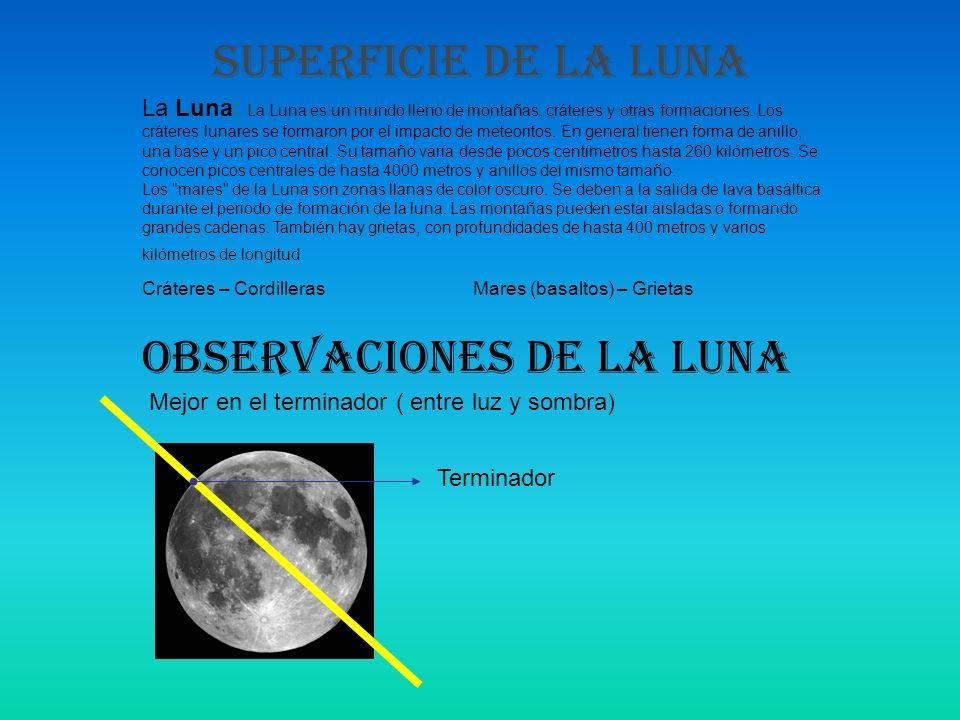 SUPERFICIE DE LA LUNA La Luna: La Luna es un mundo lleno de montañas, cráteres y otras formaciones. Los cráteres lunares se formaron por el impacto de