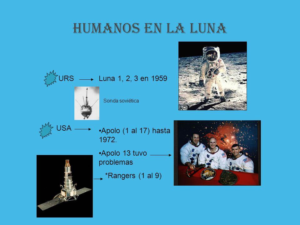 HUMANOS EN LA luna URSLuna 1, 2, 3 en 1959 USA Apolo (1 al 17) hasta 1972. Apolo 13 tuvo problemas *Rangers (1 al 9) Sonda soviética