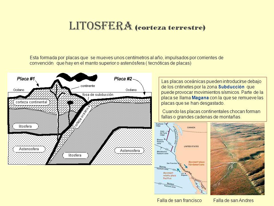 LITOSFERA (corteza terrestre) Esta formada por placas que se mueves unos centímetros al año, impulsados por corrientes de convención que hay en el man