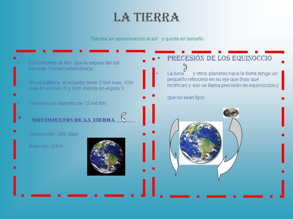 LA TIERRA Tercera en aproximación al sol y quinta en tamaño 150 millones de Km. que la separa del sol llamada Unidad astronómica. No es esférica, el e