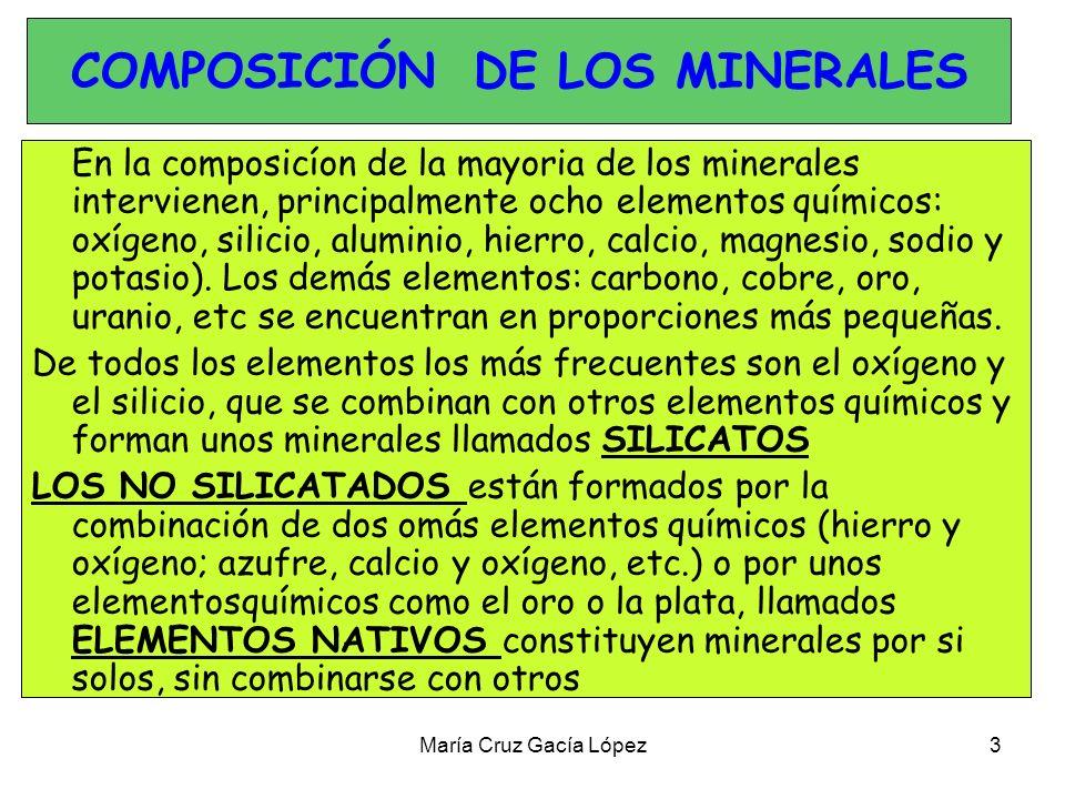 María Cruz Gacía López 4 CLASIFICACIÓN: SILICATOS MINERALES NO SILICATADOS SULFUROS: Constituidos por azufre y elementos metálicos, como el cobre, el plomo o el hierro.