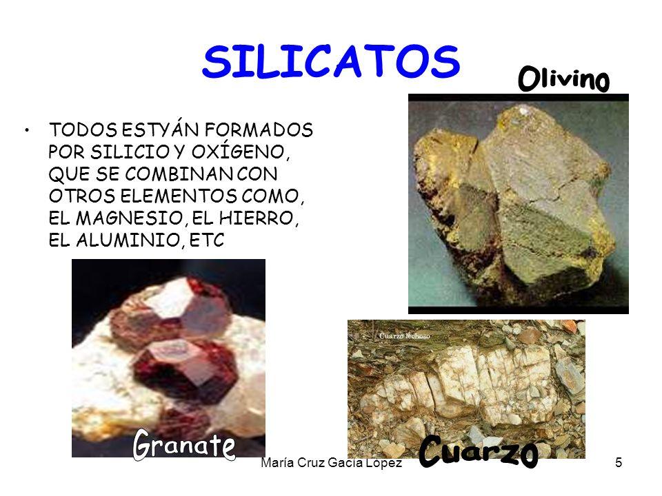María Cruz Gacía López16 LAS ROCAS Las rocas están formadas por la unión de uno o varios minerales.