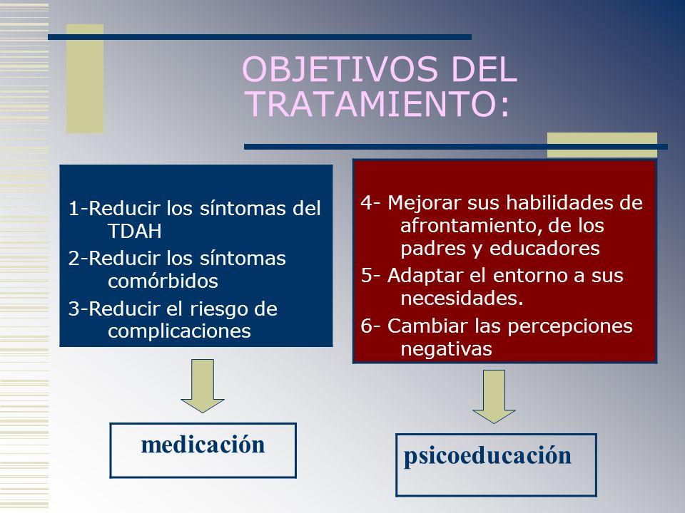 OBJETIVOS DEL TRATAMIENTO: 1-Reducir los síntomas del TDAH 2-Reducir los síntomas comórbidos 3-Reducir el riesgo de complicaciones 4- Mejorar sus habi