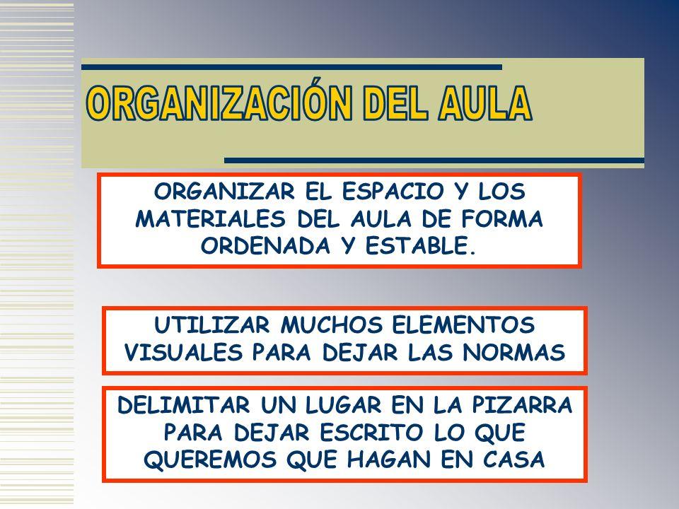 ORGANIZAR EL ESPACIO Y LOS MATERIALES DEL AULA DE FORMA ORDENADA Y ESTABLE. UTILIZAR MUCHOS ELEMENTOS VISUALES PARA DEJAR LAS NORMAS DELIMITAR UN LUGA