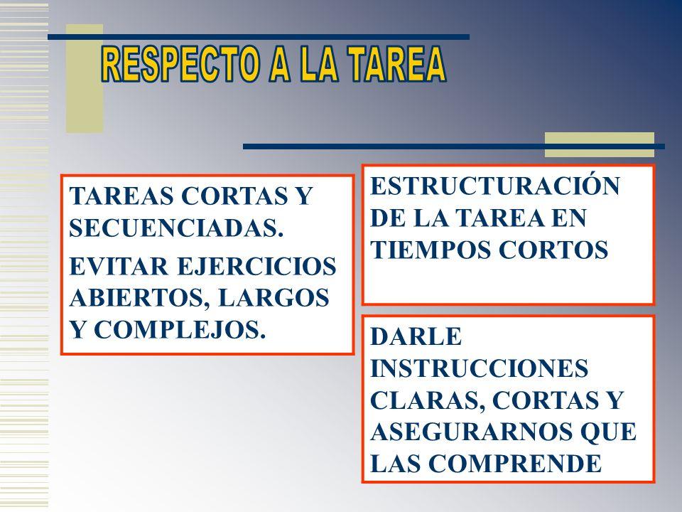 ESTRUCTURACIÓN DE LA TAREA EN TIEMPOS CORTOS DARLE INSTRUCCIONES CLARAS, CORTAS Y ASEGURARNOS QUE LAS COMPRENDE TAREAS CORTAS Y SECUENCIADAS. EVITAR E