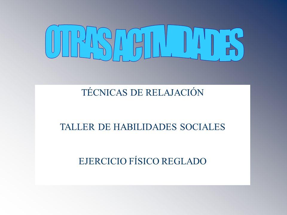 TÉCNICAS DE RELAJACIÓN TALLER DE HABILIDADES SOCIALES EJERCICIO FÍSICO REGLADO