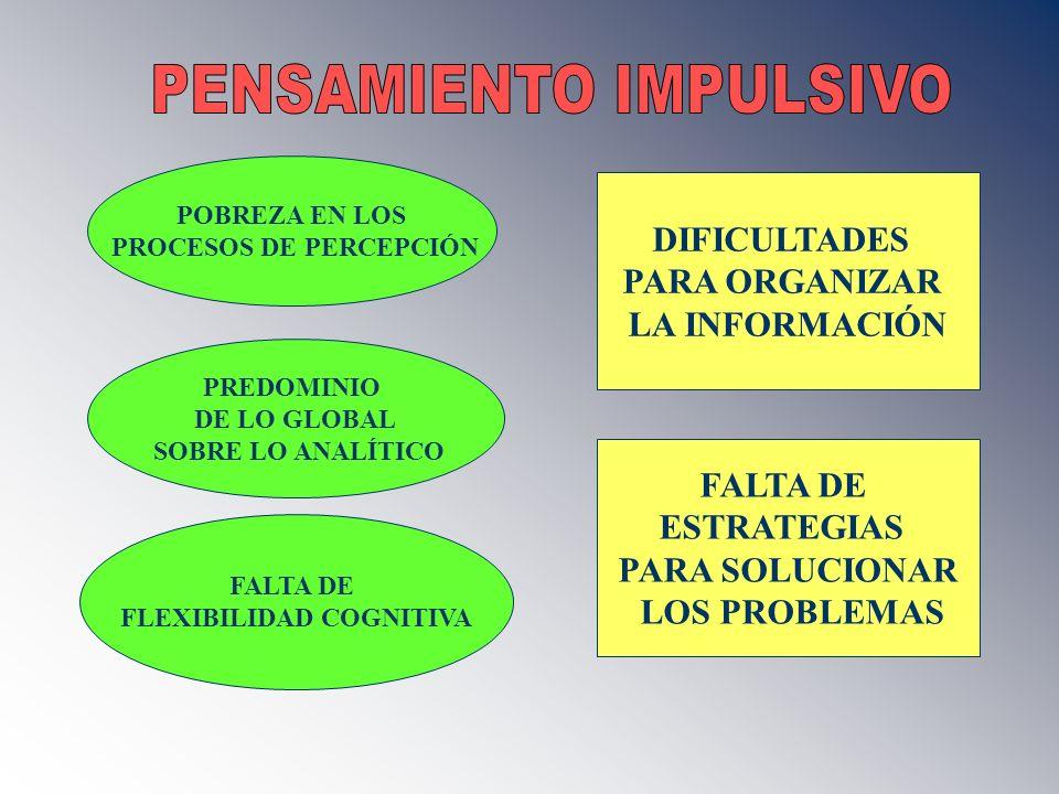 POBREZA EN LOS PROCESOS DE PERCEPCIÓN PREDOMINIO DE LO GLOBAL SOBRE LO ANALÍTICO FALTA DE FLEXIBILIDAD COGNITIVA DIFICULTADES PARA ORGANIZAR LA INFORM