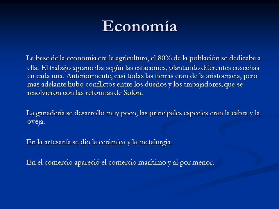 Economía La base de la economía era la agricultura, el 80% de la población se dedicaba a ella. El trabajo agrario iba según las estaciones, plantando