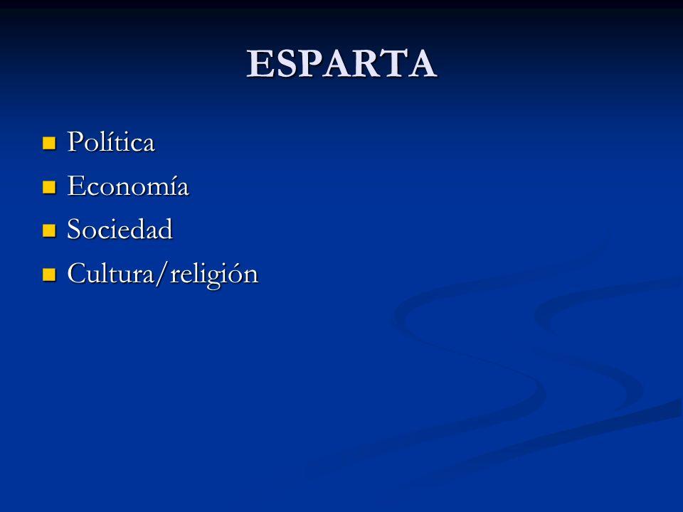 ESPARTA Política Política Economía Economía Sociedad Sociedad Cultura/religión Cultura/religión