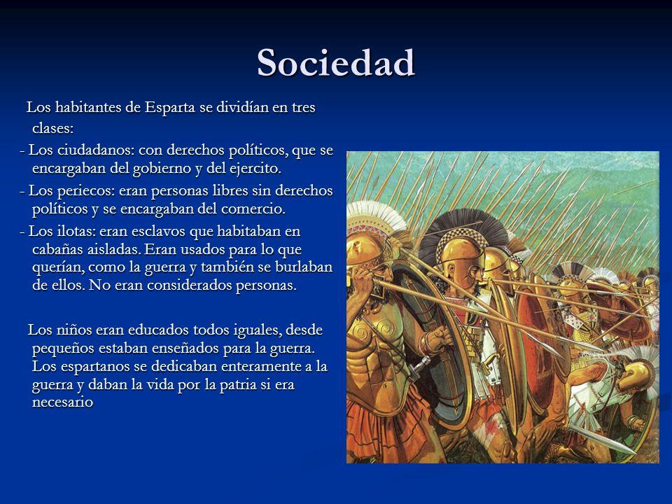 Sociedad Los habitantes de Esparta se dividían en tres clases: Los habitantes de Esparta se dividían en tres clases: - Los ciudadanos: con derechos po