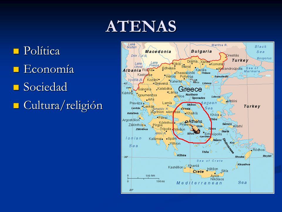 ATENAS Política Política Economía Economía Sociedad Sociedad Cultura/religión Cultura/religión