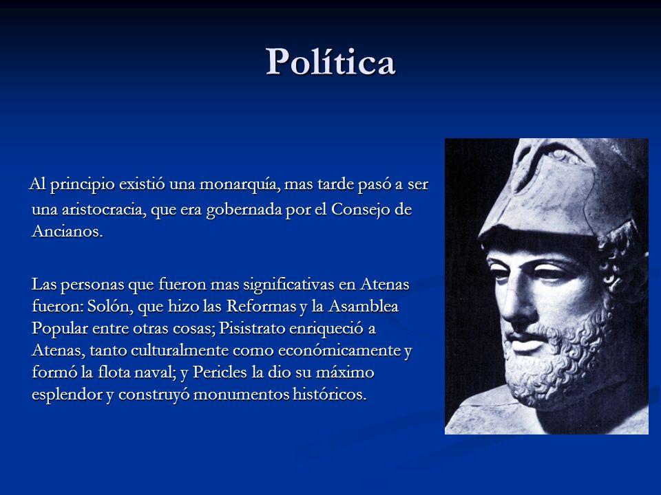 Política Al principio existió una monarquía, mas tarde pasó a ser una aristocracia, que era gobernada por el Consejo de Ancianos. Al principio existió