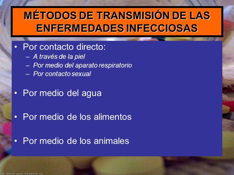 MÉTODOS DE TRANSMISIÓN DE LAS ENFERMEDADES INFECCIOSAS Por contacto directo: –A través de la piel –Por medio del aparato respiratorio –Por contacto se