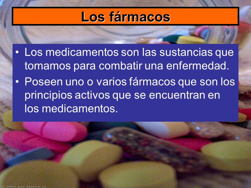 Los fármacos Los medicamentos son las sustancias que tomamos para combatir una enfermedad. Poseen uno o varios fármacos que son los principios activos