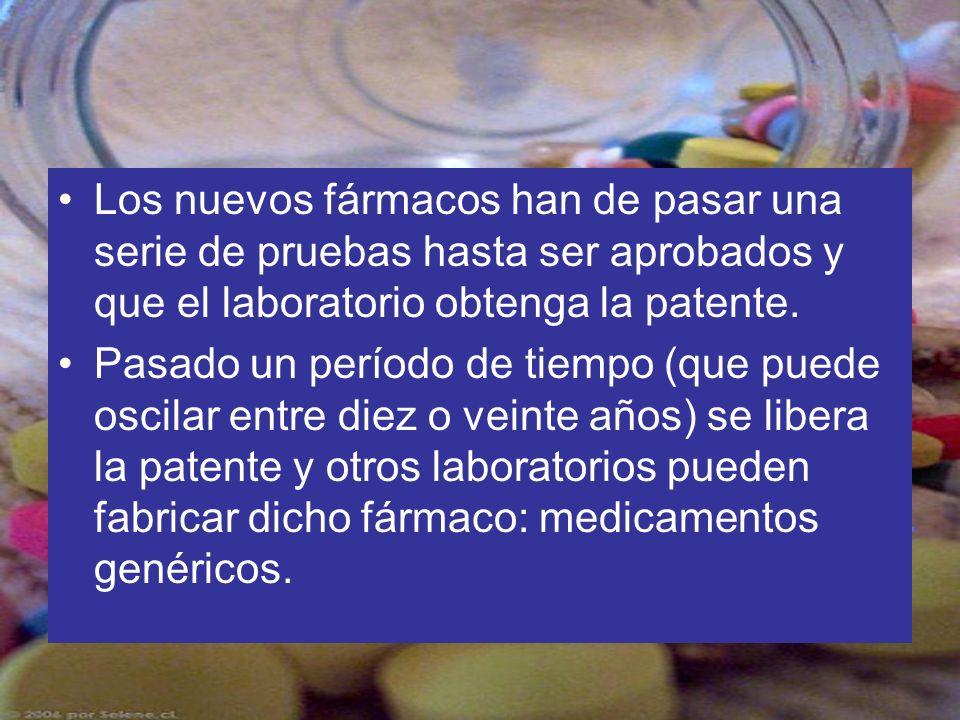 Los nuevos fármacos han de pasar una serie de pruebas hasta ser aprobados y que el laboratorio obtenga la patente. Pasado un período de tiempo (que pu