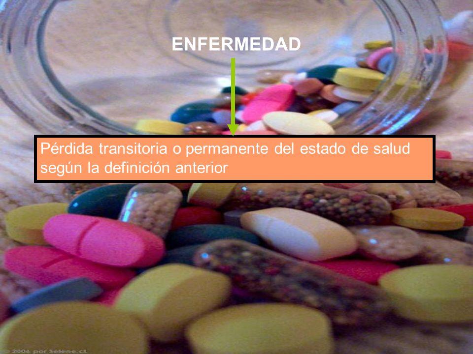 ENFERMEDAD Pérdida transitoria o permanente del estado de salud según la definición anterior