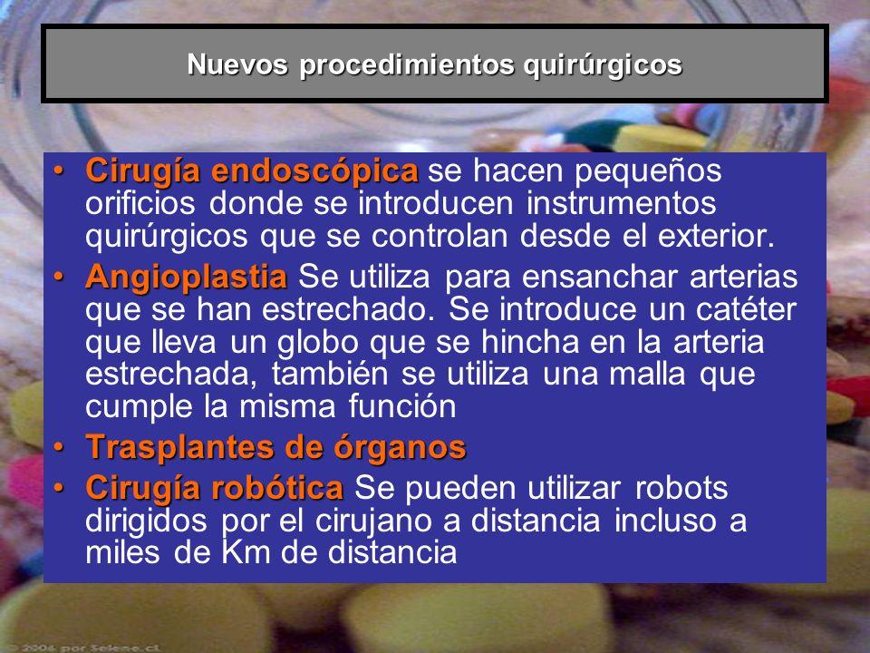 Nuevos procedimientos quirúrgicos Cirugía endoscópicaCirugía endoscópica se hacen pequeños orificios donde se introducen instrumentos quirúrgicos que