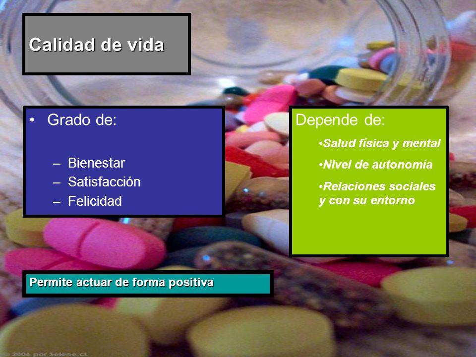 Calidad de vida Grado de: –Bienestar –Satisfacción –Felicidad Permite actuar de forma positiva Depende de: Salud física y mental Nivel de autonomía Re