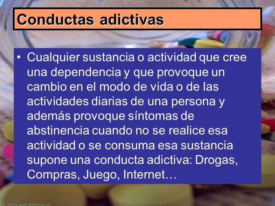 Conductas adictivas Cualquier sustancia o actividad que cree una dependencia y que provoque un cambio en el modo de vida o de las actividades diarias