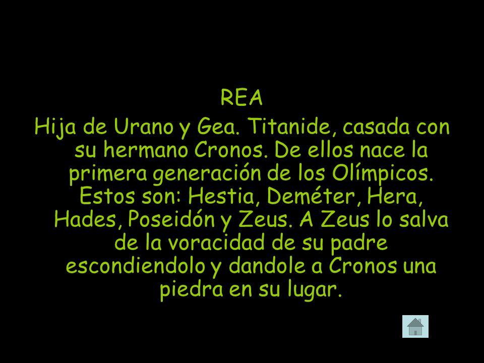 REA Hija de Urano y Gea. Titanide, casada con su hermano Cronos. De ellos nace la primera generación de los Olímpicos. Estos son: Hestia, Deméter, Her