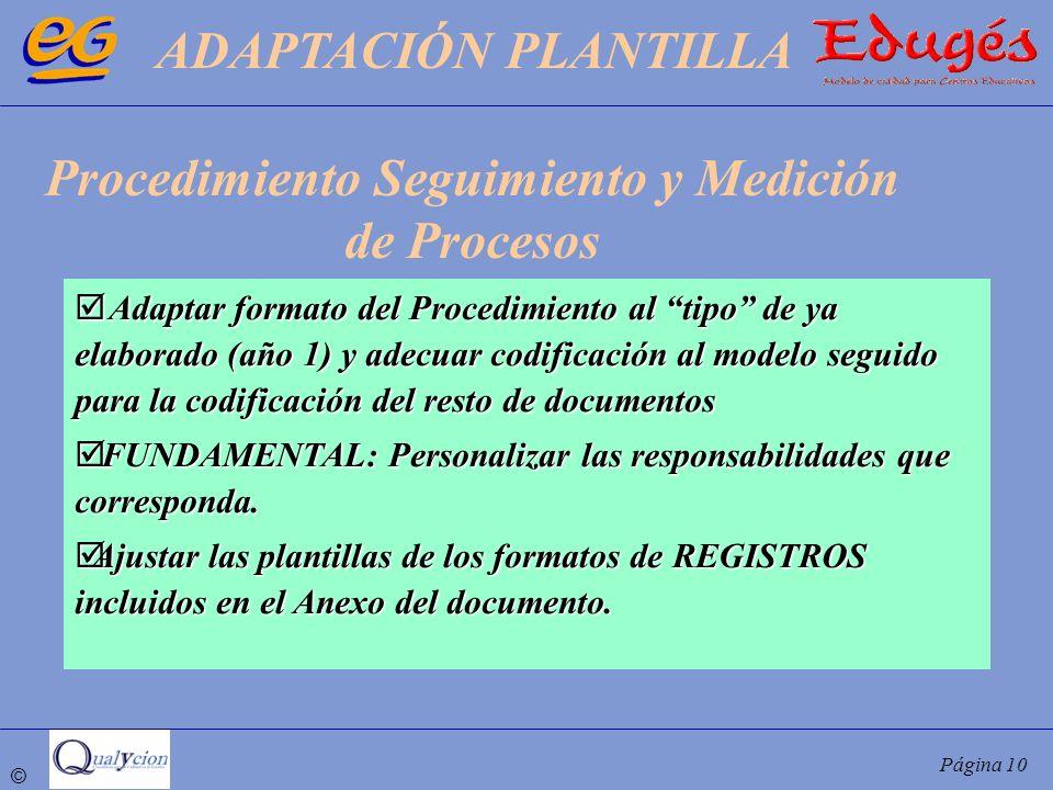 © Página 10 Adaptar formato del Procedimiento al tipo de ya elaborado (año 1) y adecuar codificación al modelo seguido para la codificación del resto