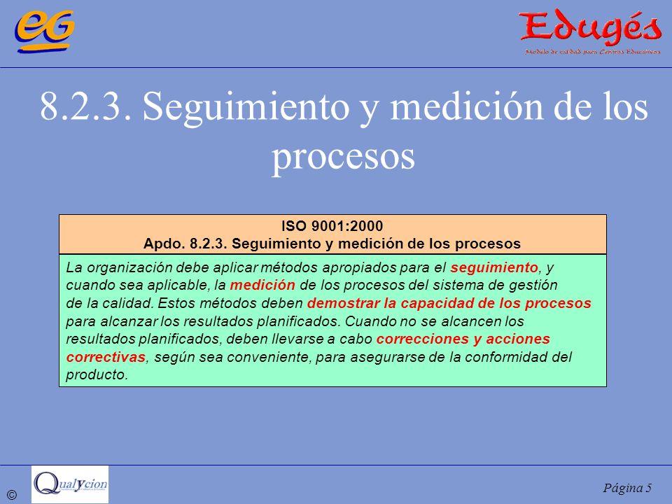 © Página 5 8.2.3. Seguimiento y medición de los procesos ISO 9001:2000 Apdo. 8.2.3. Seguimiento y medición de los procesos La organización debe aplica
