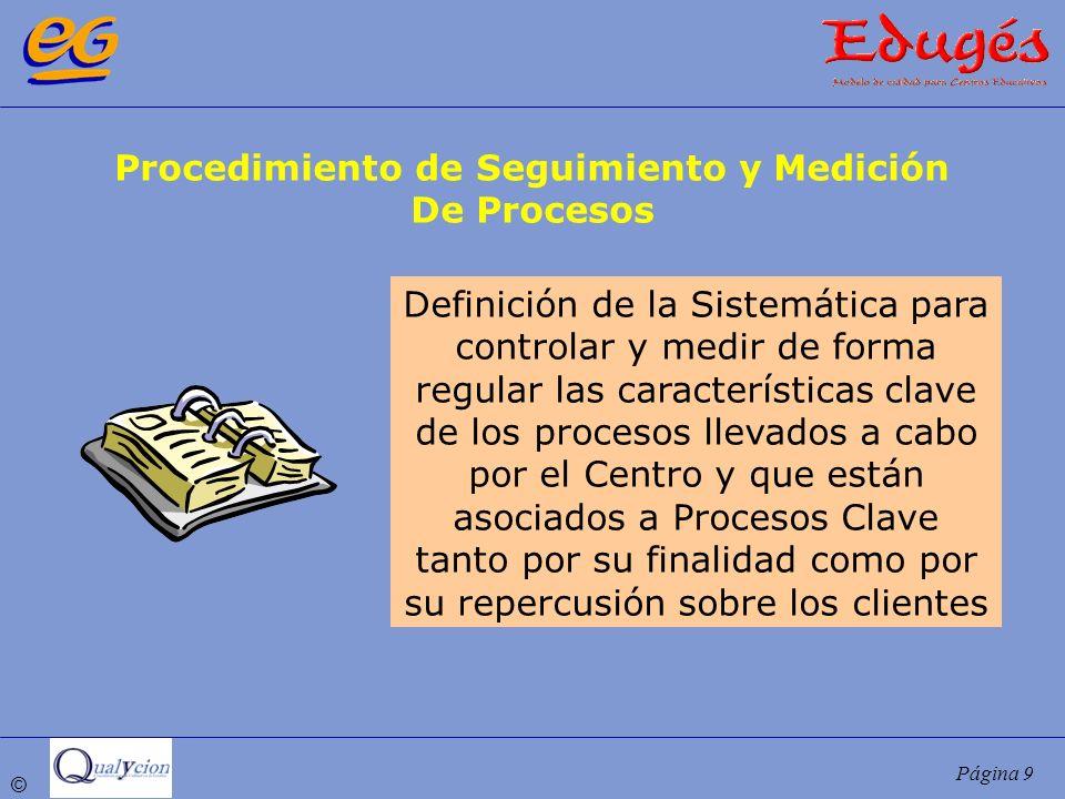 © Página 9 Procedimiento de Seguimiento y Medición De Procesos Definición de la Sistemática para controlar y medir de forma regular las característica
