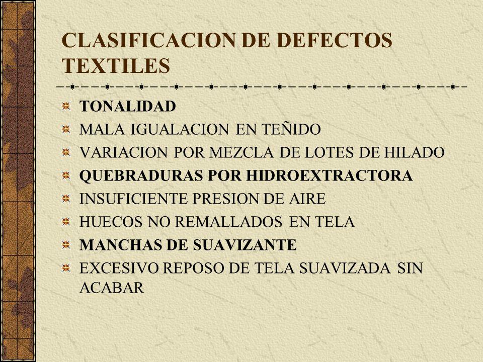 CLASIFICACION DE DEFECTOS TEXTILES TONALIDAD MALA IGUALACION EN TEÑIDO VARIACION POR MEZCLA DE LOTES DE HILADO QUEBRADURAS POR HIDROEXTRACTORA INSUFICIENTE PRESION DE AIRE HUECOS NO REMALLADOS EN TELA MANCHAS DE SUAVIZANTE EXCESIVO REPOSO DE TELA SUAVIZADA SIN ACABAR