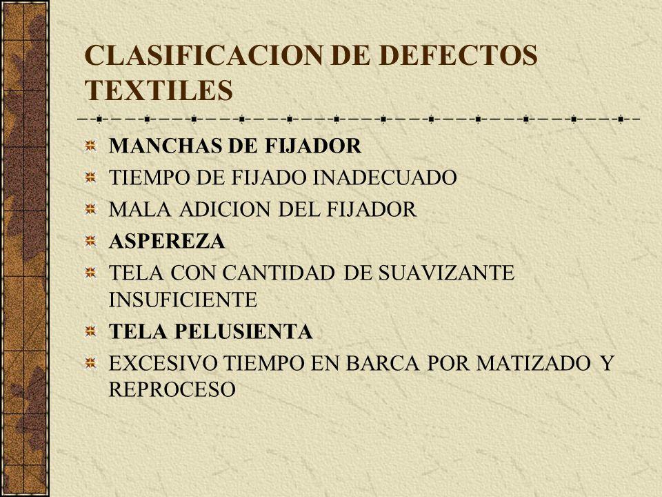 CLASIFICACION DE DEFECTOS TEXTILES MANCHAS DE FIJADOR TIEMPO DE FIJADO INADECUADO MALA ADICION DEL FIJADOR ASPEREZA TELA CON CANTIDAD DE SUAVIZANTE INSUFICIENTE TELA PELUSIENTA EXCESIVO TIEMPO EN BARCA POR MATIZADO Y REPROCESO