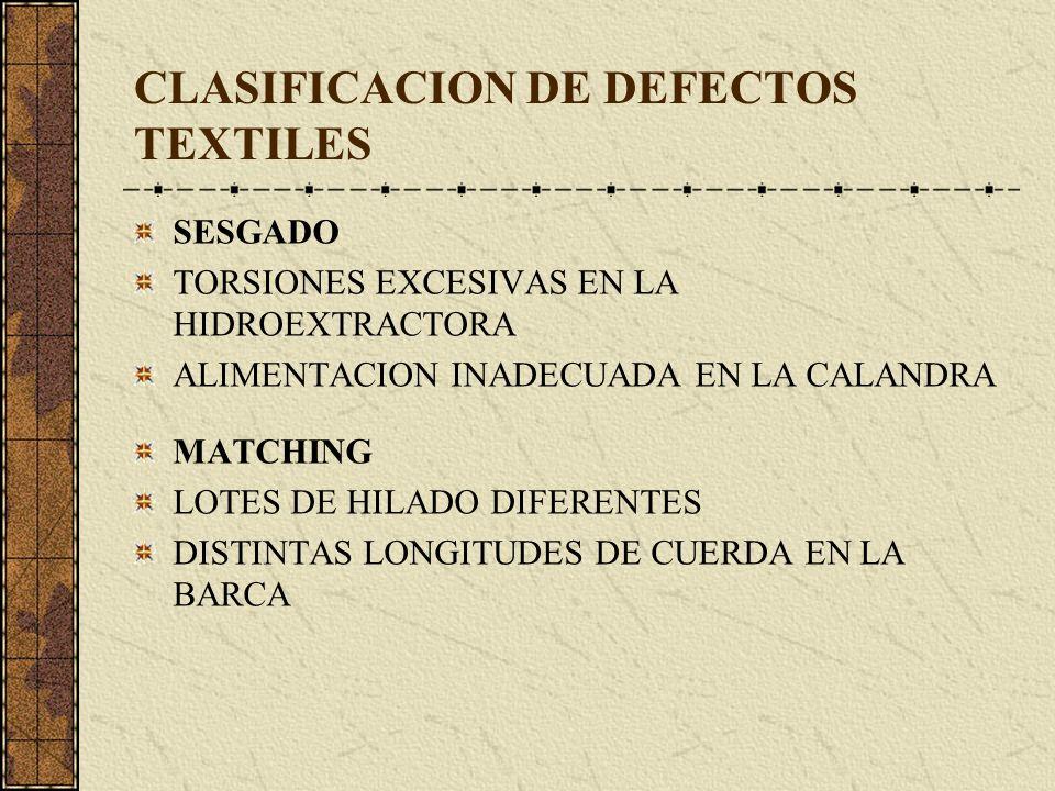 CLASIFICACION DE DEFECTOS TEXTILES SESGADO TORSIONES EXCESIVAS EN LA HIDROEXTRACTORA ALIMENTACION INADECUADA EN LA CALANDRA MATCHING LOTES DE HILADO DIFERENTES DISTINTAS LONGITUDES DE CUERDA EN LA BARCA