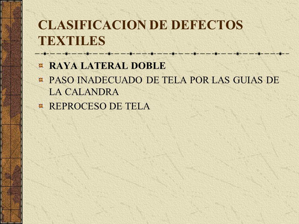 CLASIFICACION DE DEFECTOS TEXTILES RAYA LATERAL DOBLE PASO INADECUADO DE TELA POR LAS GUIAS DE LA CALANDRA REPROCESO DE TELA